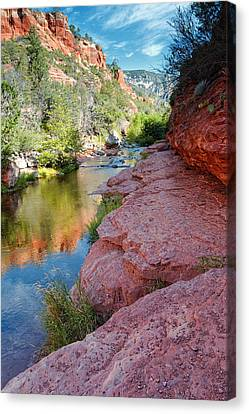 Morning Sun On Oak Creek - Slide Rock State Park Sedona Arizona Canvas Print by Silvio Ligutti