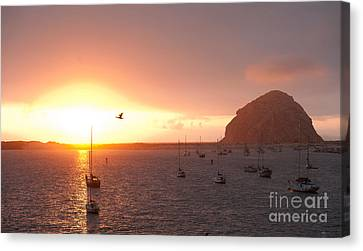 Morro Bay Rock At Sunset Canvas Print by Artist and Photographer Laura Wrede