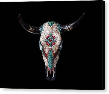 Mosaic Cow Skull Canvas Print by Katherine Sutcliffe