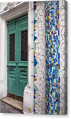 Mosaic Door In Montmartre Canvas Print by Georgia Fowler
