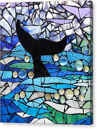 Mosaic Stained Glass - Whale Tail Canvas Print by Catherine Van Der Woerd