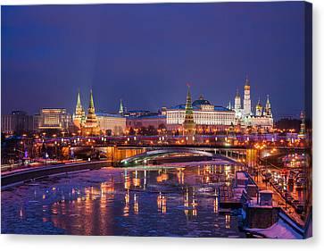 Moscow Kremlin And Big Stone Bridge At Winter Night - Featured 3 Canvas Print by Alexander Senin