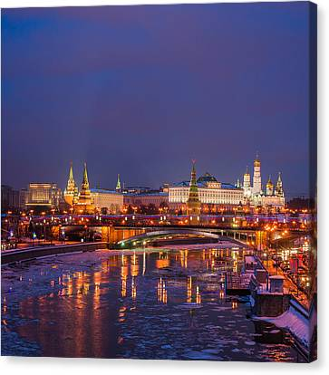 Moscow Kremlin Illuminated - Square Canvas Print by Alexander Senin