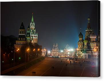 Moscow Red Square At Winter Night Canvas Print by Alexander Senin
