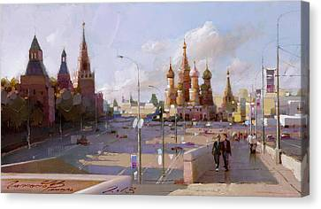 Moscow. Vasilevsky Descent. Views Of Red Square. Canvas Print by Ramil Gappasov
