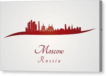 Moscow Skyline In Red Canvas Print by Pablo Romero