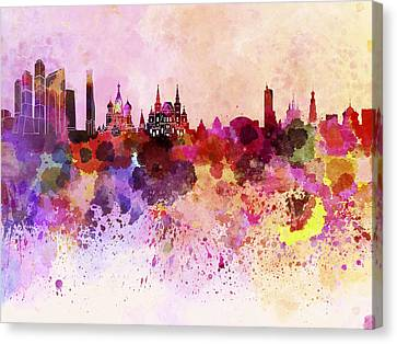 Moscow Skyline In Watercolor Background Canvas Print by Pablo Romero