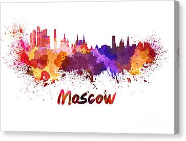 Moscow Skyline In Watercolor Canvas Print by Pablo Romero