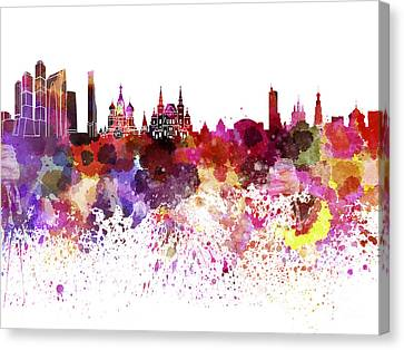 Moscow Skyline White Background Canvas Print by Pablo Romero