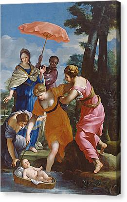 Moses Rescued From The Water Canvas Print by Giovanni Francesco Romanelli
