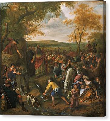Moses Striking The Rock Canvas Print by Jan Steen