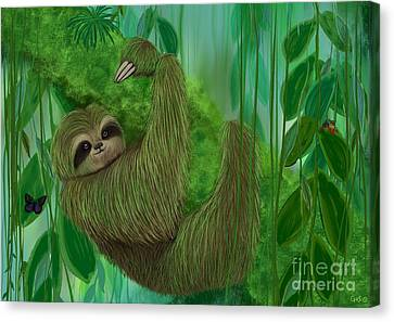 Mossy Three Toed Sloth Canvas Print by Nick Gustafson