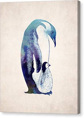 Mother And Baby Penguin Canvas Print by World Art Prints And Designs