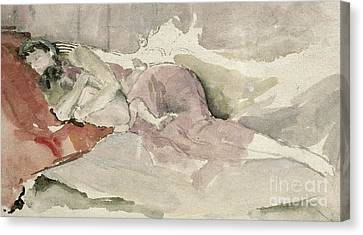 Mother And Child On A Couch Canvas Print by James Abbott McNeill Whistler