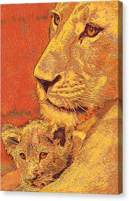 Mother And Cub Canvas Print by Jane Schnetlage