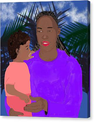 Mother And Daughter Canvas Print by Pharris Art