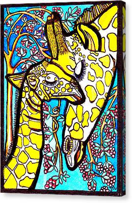 Mother Giraffe With Baby Canvas Print by Judy Moon