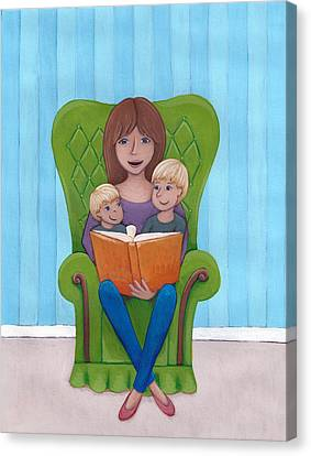 Mother Reading Canvas Print by Christy Beckwith