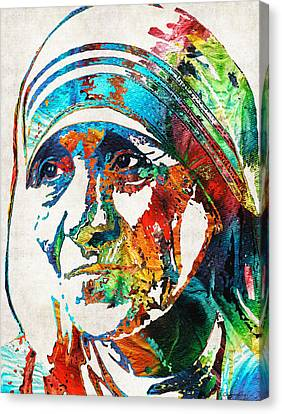 Mother Teresa Tribute By Sharon Cummings Canvas Print by Sharon Cummings