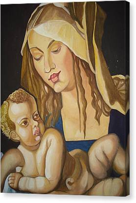 Mother With Her Child Canvas Print by Prasenjit Dhar