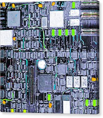 Motherboard Abstract 20130716 P38 Square Canvas Print by Wingsdomain Art and Photography