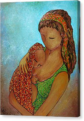 Motherhood Painting Just Close To You Original By Gioia Albano Canvas Print by Gioia Albano