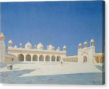 Moti Masjid, Agra Canvas Print by Vasili Vasilievich Vereshchagin