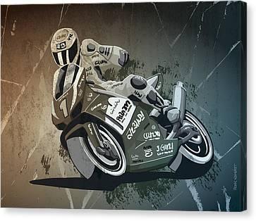 Motorbike Racing Grunge Monochrome Canvas Print by Frank Ramspott