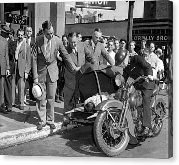 Motorcycle Ambulance Vintage Pick Up Canvas Print by Retro Images Archive