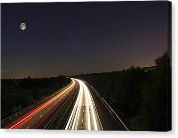 Motorway Light Trails Canvas Print by Jay Harrison
