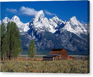 Moulton Barn Tetons Canvas Print by Leland D Howard