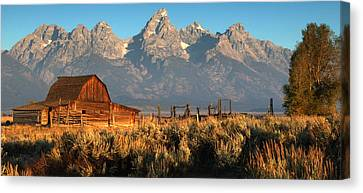 Moulton Barn - The Tetons Canvas Print by Stephen  Vecchiotti