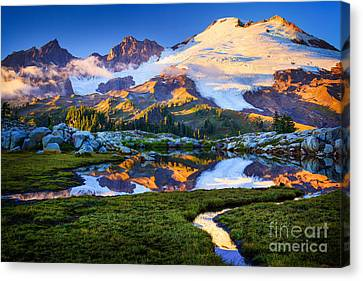 Mount Baker Reflection Canvas Print by Inge Johnsson