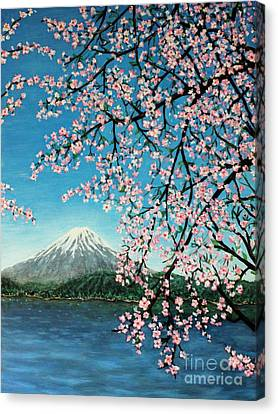 Mount Fuji Cherry Blossoms Canvas Print by Sheena Kohlmeyer