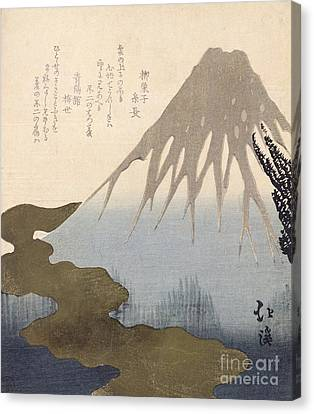 Mount Fuji Under The Snow Canvas Print by Toyota Hokkei