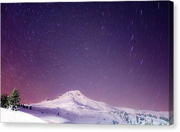 Mount Hood And Stars Canvas Print by Darren  White