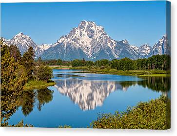Mount Moran On Snake River Landscape Canvas Print by Brian Harig