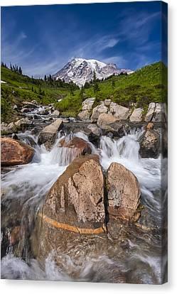 Mount Rainier Glacial Flow Canvas Print by Adam Romanowicz