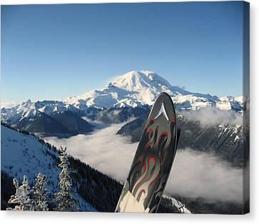 Mount Rainier Has Skis Canvas Print by Kym Backland