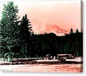 Mount Rainier With Vintage Cars Early 1900 Era... Canvas Print by Eddie Eastwood