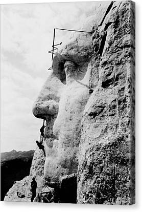 Mount Rushmore Construction Photo Canvas Print by War Is Hell Store