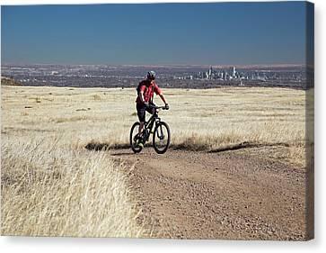 Mountain Biker Canvas Print by Jim West