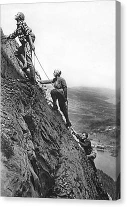 Mountain Climbing In Glacier Canvas Print by Underwood Archives