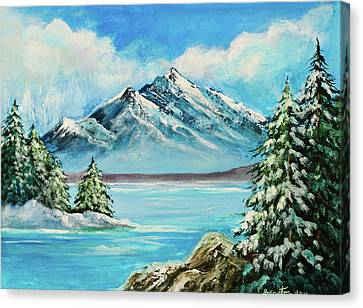 Mountain Lake In Winter Original Painting Forsale Canvas Print by Bob and Nadine Johnston