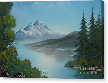 Mountain Lake Painting A La Bob Ross Canvas Print by Bruno Santoro