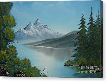 Mountain Lake Painting A La Bob Ross Canvas Print by Bruno Santoro