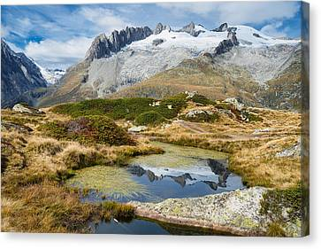 Mountain Landscape Water Reflection Swiss Alps Canvas Print by Matthias Hauser