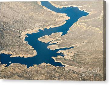 Mountain River From The Air Canvas Print by Darleen Stry