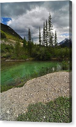 Mountain Scene Near A Small Pond In Kananaskis Country Alberta Canada Canvas Print by Michael Mckinney