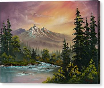 Mountain Sunset Canvas Print by C Steele